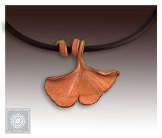 Summer Jewelry, Ginkgo leaf, Elegant  leather pendant, botanical jewelry, Boho style