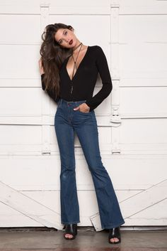 Edgy look in Clayton's Fawn Bodysuit. Perfect for layering with your favorite distressed denim or 90's flares.
