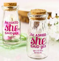 Personalized Imprint He Asked She Said Yes Vintage Milk Jars
