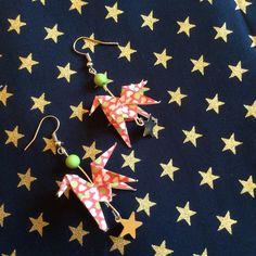 Boucles d'oreilles origami cheval et étoile