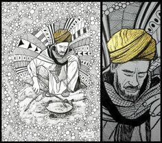 """""""O FAZEDOR DE SOPAS"""" técnica: bico de pena e tinta acrílica metálica s/ papel C à grain 224g/m², tamanho 21X29,7cm"""