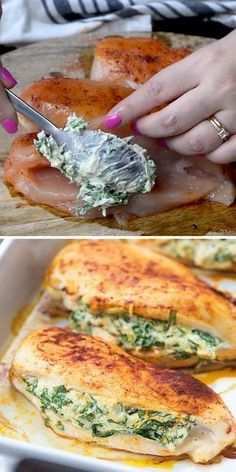 Low carb and keto friendly! This spinach stuffed chicken is a family favorite and it's easier than you'd think! Low carb and keto friendly! This spinach stuffed chicken is a family favorite and it's easier than you'd think! Spinach Recipes, Healthy Chicken Recipes, Healthy Dinner Recipes, Recipe Chicken, Dessert Recipes, Pollo Recipe, Vegetarian Recipes, Healthy Food, Baking Desserts