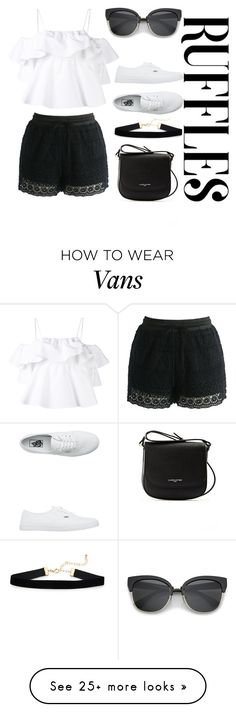 """ruffle top"" by maryamlovesbeauty on Polyvore featuring MSGM, Chicwish, Lancaster and Vans"