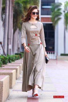 Shop trendy gray colored partywear rayon long kurti , freeshipping all over the world , Item code Salwar Designs, Kurta Designs Women, Kurti Designs Party Wear, Dress Neck Designs, Designs For Dresses, Blouse Designs, Indian Designer Outfits, Designer Dresses, Designer Kurtis