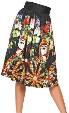 Printed Cotton Poplin Skirt - Lyst