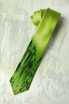 Kryptonite Supermans Rock on mens tie. Green crystal motive on necktie. Gift for fan comic books,Marvel heros and Smallville series.. $30.00, via Etsy.