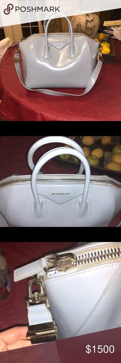 "Givenchy Medium Antigona Box Leather Satchel SIZE INFO 13 1/2""W x 11""H x 8""D. (Interior capacity: large.) 4"" strap drop; 10 1/2"" shoulder strap drop. 3.05 lbs. DETAILS & CARE Beloved by street-style mavens and well-polished women the world over, Givenchy's Antigona satchel is updated here in fine box calfskin leather, imparting subtle shine to this classic, structured style. Top zip closure Top carry handles; shoulder strap Calfskin leather  Gently used condition. Outside is in good…"