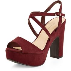 New Look Wide Fit Dark Red Suedette Cross Strap Block Heels (120 PEN) ❤ liked on Polyvore featuring shoes, pumps, heels, dark red, wide width pumps, wide pumps, wide fit shoes, heel pump and block heel pumps