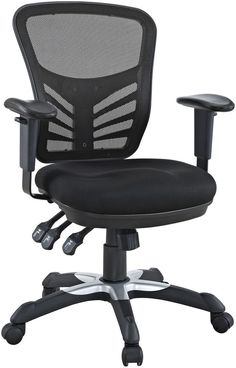 triple seated home office area. Black Mesh Home Office Chair W Dual Caster Wheels Lumbar Support New #Modway Triple Seated Area
