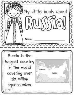 "This ""All About Russia"" booklet can be used for a very basic country study in lower elementary grades! Just print out the pages, have kids cut alo. Teaching Geography, World Geography, Teaching Kids, Geography Lessons, Around The World Theme, Around The World Crafts For Kids, World Thinking Day, My Father's World, Kids Education"