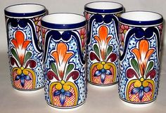 Mexican Pottery LG Talavera Drinking Glasses Set of 4