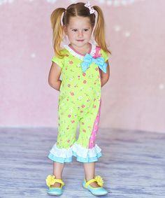 Super cute! Lime Floral Baby Bow Romper - Infant on #zulily today!