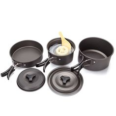 Kairuide Aluminum Alloy Outdoor Camping Hiking Cookware Backpacking Cooking Picnic Bowl Pot Pan Set ** Click image for more details.