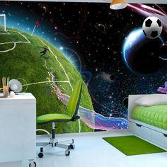 Fotomural de fútbol en el espacio - http://vinilos.info/producto/fotomural-de-futbol-en-el-espacio/ Si tus hijos son amantes del fútbol , con este fotomural alucinarán. No querrán salir de la habitación, será la envidia de todos sus amigos.    #HabitaciónInfantil, #HabitaciónJuvenil   #decoracion