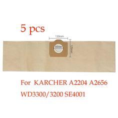 5 pcs Remplacement aspirateur KARCHER A2204 A2656 WD3300/3200 SE4001 sac à poussière aspirateur sac papier sac
