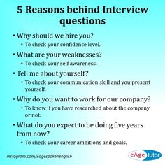 Ever wondered what interviewers think when they ask these questions?Ever wondered what interviewers think when they ask these questions? Here are some common interview questions and reasons behind them. Job Interview Preparation, Interview Skills, Job Interview Tips, Job Interviews, Interview Tips Weaknesses, Interview Techniques, Interview Coaching, Job Resume, Resume Tips