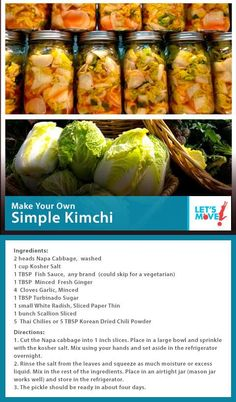 FLOTUS Kimchi Recipe - Yet another reason I think she is the most amazing woman. Squires Squires monahan - Michelle Obama shared her recipe for Kimchi! Asian Recipes, New Recipes, Cooking Recipes, Favorite Recipes, Healthy Recipes, Healthy Treats, Healthy Food, Cooking Ribs, Cooking Steak