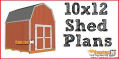 Free shed plans include gable, gambrel, lean to, small and big sheds. These sheds can be used for storage or in the garden. Free how to build a shed guide. 10x12 Shed Plans, Shed Plans 12x16, Lean To Shed Plans, Wood Shed Plans, Free Shed Plans, Shed Building Plans, Coop Plans, Building Ideas, Greenhouse Plans