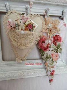 Very pretty hearts. Floral and lace