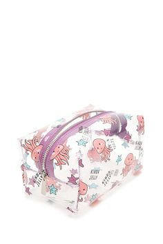"""First ever cute pencil case. A clear makeup bag featuring an allover """"Kinda Jelly"""" with starfish and octopus graphics, contrast trim, and a zipper top. Pencil Bags, Pencil Pouch, Cute Makeup, Makeup Geek, Makeup Tools, Makeup Brushes, Dior Makeup, Cute Pencil Case, Makeup Bag Organization"""