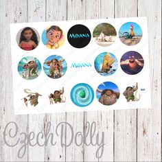 Moana Bottle Cap Images 4x6 JPEG 1 inch Printable Bottle Cap Images {300dpi} INSTANT DOWNLOAD by CzechDollyBoutique on Etsy