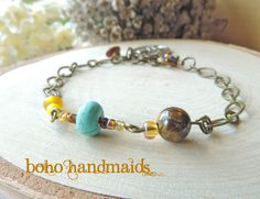 Sacred Heart of Jesus Women's Bracelet, Religious Jewelry, Catholic or Christian, Turquoise and Yellow Beads, Amber, Tigereye, Bronze Chain by BohoHandmaids on Etsy