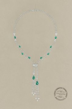 A sketch of a Tiffany necklace with tsavorites and diamonds, from the 2013 Blue Book Collection.   - ELLE.com