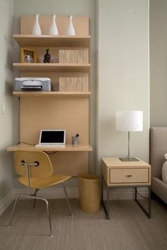 This desk adds space and organization to your bedroom with a vertical feel that draw your eye up like wall art, rather than cluttering your space!