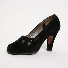 1940s Heels Vintage Black Suede Cocktail High Heels US by zwzzy, $110.00