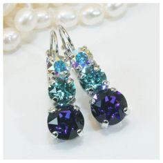 Aqua Blue Earrings Crystal Aqua Deep Blue Silver Drop by TIMATIBO