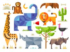On creativemarket :) https://creativemarket.com/OlegBeresnev/83068-Magic-animal-world-geometric-flat