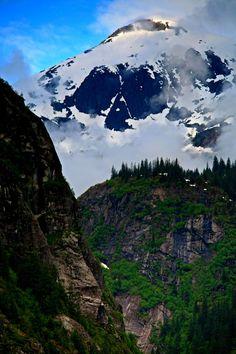 Misty snow covered mountains, Inside Passage, Tracy Arm Fjord, Alaska, Jason Schlosberg..
