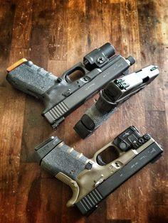 Modded Glocks #gun #guns #rifle #m4 #ar15 #229 #rounds #clip #bolt #laser #scope #carbine #guns #gun #handguns #rifles #bullets #hunting #gunsandhunting