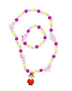 Pikku Myy korusetti - Moomin by Cailap wooden bead jewelryset #Moomin #jewelry