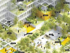 The Montpleyel(+) . Saint Denis mixed-use development, rooftop uses Architecture Concept Diagram, Green Architecture, Landscape Architecture, Architecture Design, Architecture Diagrams, Architecture Portfolio, Pop Design, Design Lab, Landscape Diagram