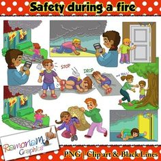 This Fire Safety Clip art set focuses on how to keep safe during a fire.You will get the images that depict the following safety tips:- Never run into a burning house- Immediately exit a burning house- Crawl on all fours close to the floor - Checking with hand if a door is hot- Close doors behind you- Stop- Drop- Roll- Use woolen blanket to put out fire on someone else - Meeting place- Call 911 (American emergency number) - Call 000 (Australia emergency number) $6.00
