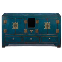Blue painted antique Chinese cabinet