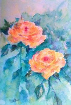 Yellow watercolor roses by Veselina Angelova