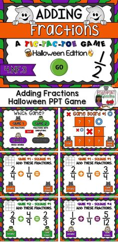 "Engage students with this fun, interactive Halloween themed time game. In this tic-tac-toe powerpoint game, students play against one another as they practice adding fractions. In this twist on the classic game, students must answer the questions correctly in order to place their ""x"" or ""o"". There are 3 game modes with 9 questions per game."