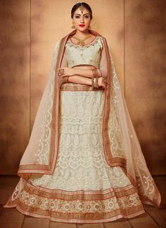 Immaculate Embroidered Work Off White A Line Lehenga Choli
