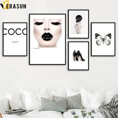 VERASUN Coco Butterfly Wall Art Canvas Painting Posters And Prints Pop Art Poster Wall Pictures For Living Room Decor Quadro
