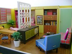 """Re-decorate of Barbie's 1962 Dream House - This is actually a """"remodel,"""" as they have rearranged the walls."""