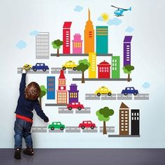 Just did the kids walls w/ French Bull City Wall Stickers from Wall Candy Arts- they are having a sale now! City Wall Stickers, Childrens Wall Stickers, Kids Wall Decals, Removable Wall Decals, Wall Decal Sticker, Room Stickers, Modern Kids Decor, Wall Candy, Candy Art