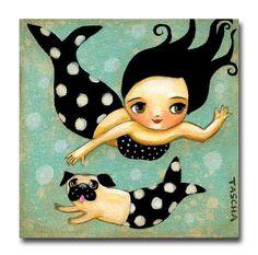 A sweet mermaid and her mer-dog Pug swim in loop-de-loops in the ocean.