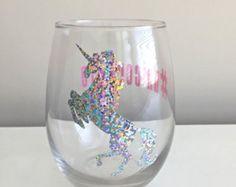 Unicornio agua Copa de vino sin pie  unicornio vino vidrio