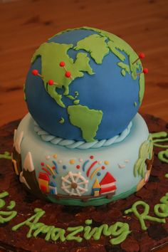 Have a globe cake and have the pins placed where me and my husband have been to together.