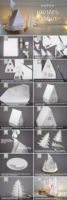 3D Paper Cabin - Lia Griffith - www.liagriffith.com #diyinspiration #paper #papercraft #paperart #diychristmas #diyholiday #diyholidays #diyhomedecor #madewithlia