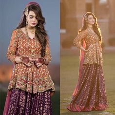 Latest Pakistani Short Frocks Peplum Tops Styles & Designs Collection consists of trends & styling of short frocks with bell bottoms, shararas, etc Pakistani Mehndi Dress, Pakistani Wedding Dresses, Pakistani Outfits, Indian Dresses, Mehendi, Shadi Dresses, Pakistani Clothing, Bride Dresses, Indian Sarees