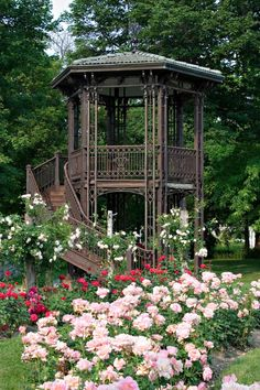 This beautiful landmark iron gazebo is located at the North end of the rose garden at the Sonnenberg Historic State Park in New York state.