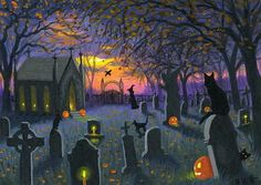Cats cemetery crypt witch moon Halloween limited edition aceo print art #Realism